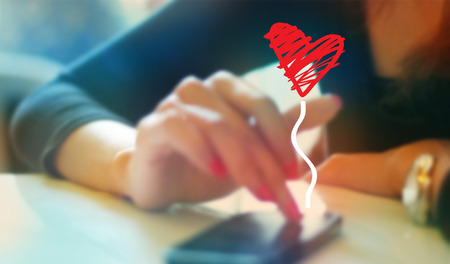 Photo pour colorful woman playing chat with boyfriend on mobile phone, soft and blur concept - image libre de droit