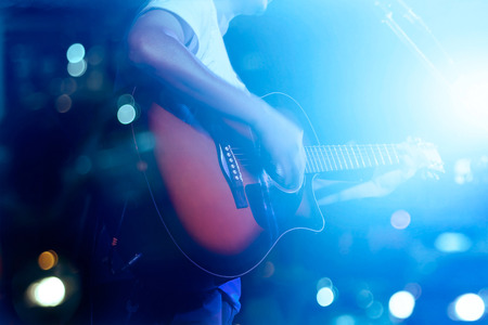 Photo for Guitarist on stage grunge background, soft and blur concept - Royalty Free Image