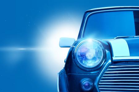 Retro design classic of vintage car head light on blue color tone