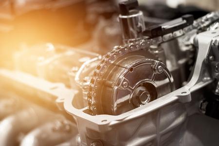 Foto de Details of car engine chain and gears, Cut away engine - Imagen libre de derechos