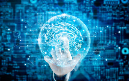 Foto de Man touching virtual brain innovative technology in science and medical concept in blue tone - Imagen libre de derechos