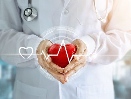 Foto de Doctor with stethoscope and red heart shape with icon heartbeat in hands on hospital background - Imagen libre de derechos