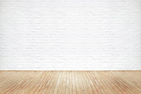 Foto de Vintage old brown wooden floor texture with white brick wall dust grime for background - Imagen libre de derechos