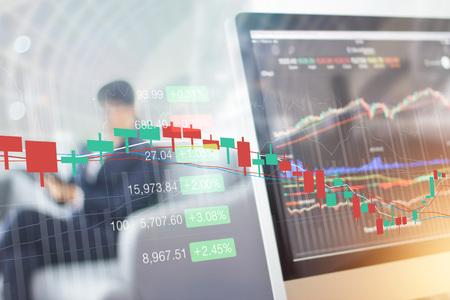 Foto de Stock market graph on computer screen. Analyzing data of businessman working in  office background, All on screen are design up - Imagen libre de derechos