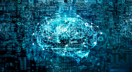 Foto per Artificial Intelligence digital Brain future technology on motherboard computer. Binary data. Brain of AI. Futuristic Innovative technology in science concept - Immagine Royalty Free
