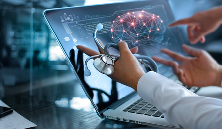 Foto de Medicine doctor team meeting and analysis. Diagnose checking brain testing result with modern virtual screen interface on laptop with stethoscope in hand, Medical technology network connection concept. - Imagen libre de derechos
