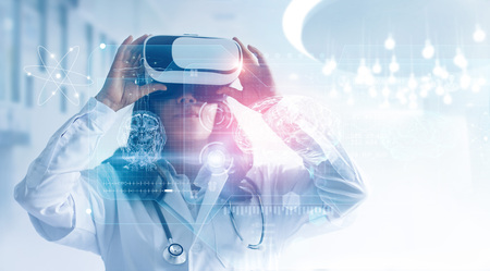 Foto de Medical technology concept. Mixed media. Female doctor wearing virtual reality glasses. Checking brain testing result with simulator interface, Innovative technology in science and medicine. - Imagen libre de derechos
