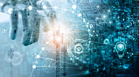 Foto de Futuristic technology concept, Mixed media, Innovations data systems connecting people and robots devices. AI, Artificial Intelligence, Robotic hand on blue circuit board background. Innovative technologies and communication - Imagen libre de derechos