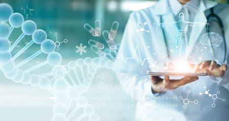 Photo pour Medicine doctor touching electronic medical record on tablet. DNA. Digital healthcare and network connection on hologram modern virtual screen interface, medical technology and network concept. - image libre de droit