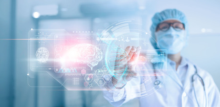 Foto de Doctor, surgeon analyzing patient brain testing result and human anatomy, dna on technological digital futuristic virtual interface, digital holographic, innovative in medical, science and medicine concept. - Imagen libre de derechos