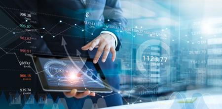 Foto de Businessman using tablet analyzing sales data and economic growth graph chart. Business strategy. Abstract icon. Stock market. Digital marketing. - Imagen libre de derechos