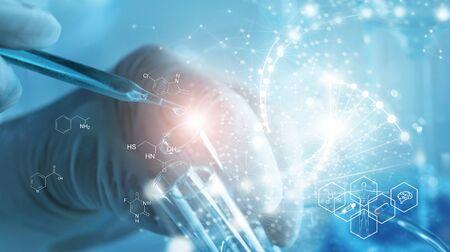 Foto de Genetic research and Biotech science Concept. Human Biology and pharmaceutical technology on laboratory - Imagen libre de derechos