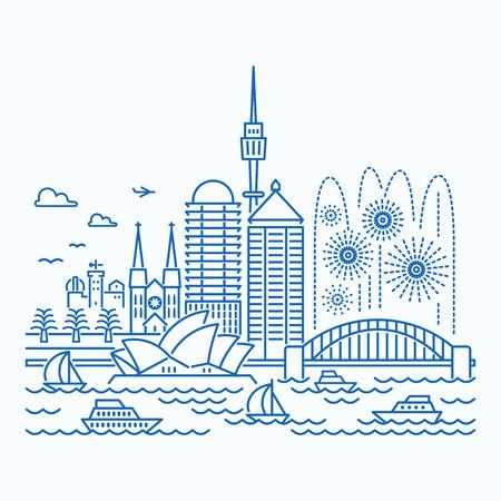 Illustration for Sydney (Australia) skyline waterfront view. Flat style. - Royalty Free Image