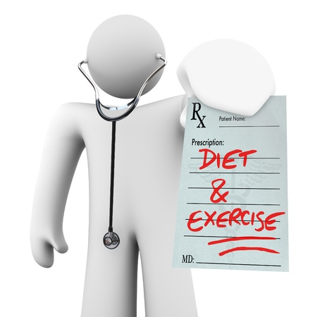 A doctor holds a prescription with the words Diet and Exercise written on it, symbolizing preventative living and a healthy lifestyle