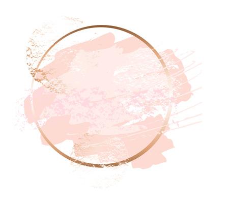 Illustration for Golden pink nude art frames. - Royalty Free Image