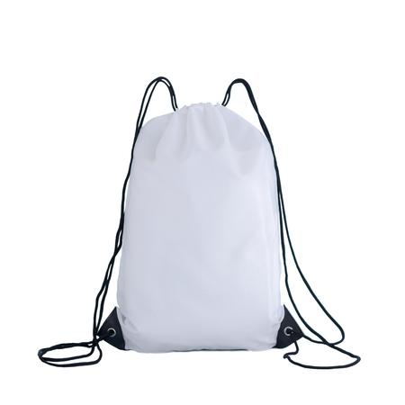 Foto de White drawstring pack template, bag for sport shoes isolated on white, sport concept - Imagen libre de derechos