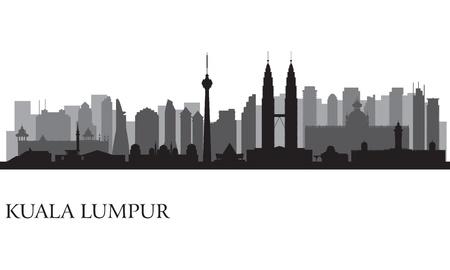 Illustration pour Kuala Lumpur city skyline  silhouette illustration - image libre de droit