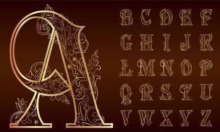 Illustration for Vintage floral Alphabet Set  Vector illustration   - Royalty Free Image