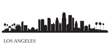 Illustration pour Los Angeles city skyline silhouette background                             - image libre de droit