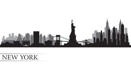 Illustration for New York city skyline detailed silhouette  Vector illustration - Royalty Free Image