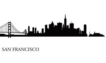 Illustration pour San Francisco city skyline silhouette background  Vector illustration - image libre de droit