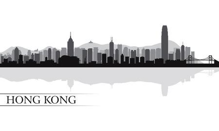 Illustration pour Hong Kong city skyline silhouette background, vector illustration - image libre de droit