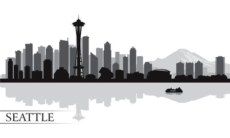 Photo for Seattle city skyline silhouette background, vector illustration  - Royalty Free Image