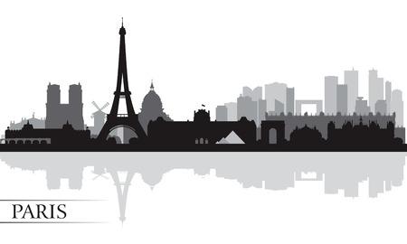 Illustration pour Paris city skyline silhouette background, vector illustration  - image libre de droit