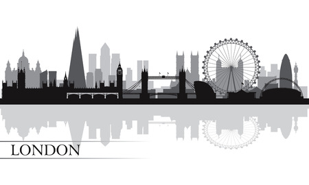 Illustration for London city skyline silhouette background, vector illustration  - Royalty Free Image