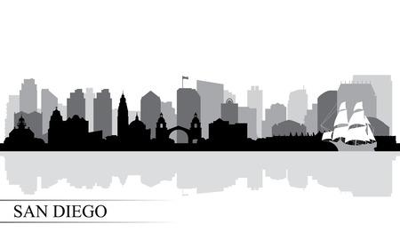 Illustration pour San Diego city skyline silhouette background, vector illustration - image libre de droit
