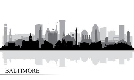 Illustration pour Baltimore city skyline silhouette background, vector illustration - image libre de droit