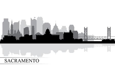 Illustration pour Sacramento city skyline silhouette background, vector illustration - image libre de droit