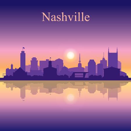 Illustration pour Nashville silhouette on sunset background vector illustration - image libre de droit