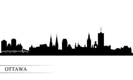 Illustration pour Ottawa city skyline silhouette background, vector illustration - image libre de droit