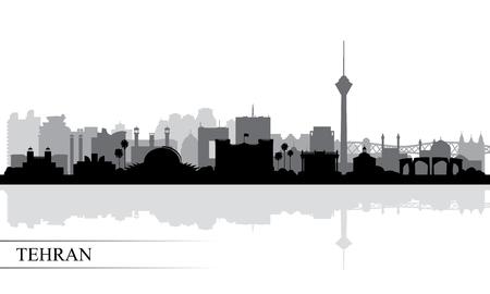 Illustration pour Tehran city skyline silhouette background, vector illustration - image libre de droit