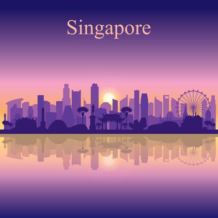 Illustration pour Singapore city skyline silhouette background, vector illustration - image libre de droit