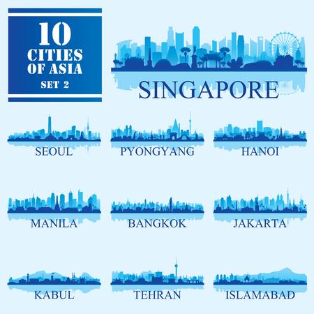 Illustration pour Set of 10 Asian cities, vector illustration - image libre de droit