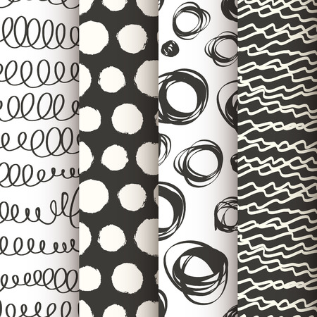Photo pour Set of 4 black and white doodle seamless patterns - image libre de droit