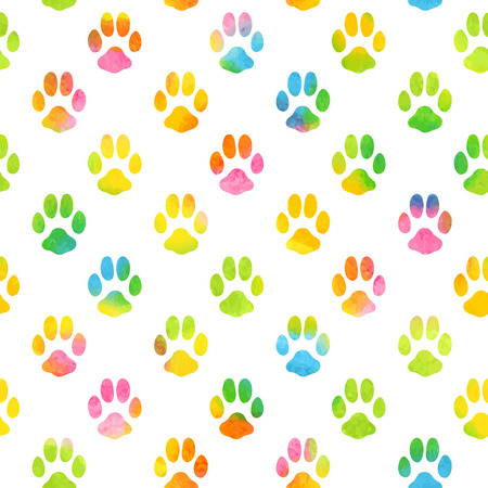 Ilustración de Seamless pattern with watercolor animal footprint texture - Imagen libre de derechos