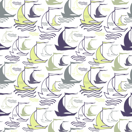 Seamless nautical pattern with decorative sailing boats mural