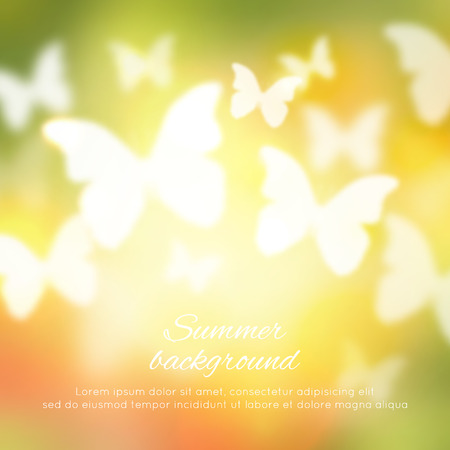 Illustration pour Abstract shining spring summer background with butterflies - image libre de droit