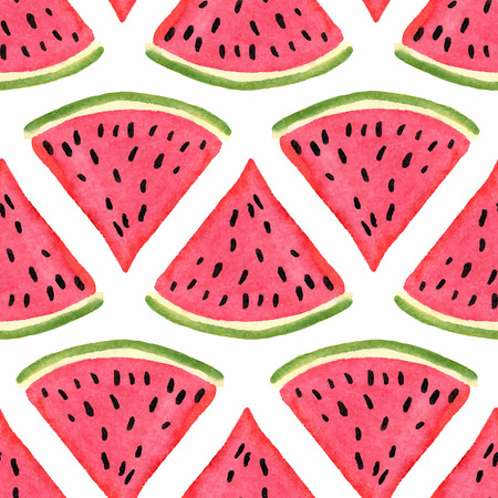 Illustration for Seamless pattern with watercolor watermelon - Royalty Free Image
