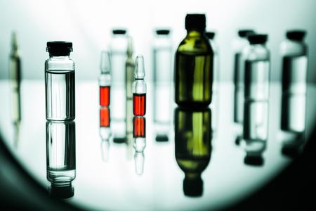 Foto de Group object of liquid medicinal agent in limpid glassware in medical laboratory - Imagen libre de derechos