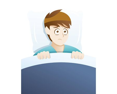 Illustration pour Depression symptoms sleep disturbances. Young man suffer because he cannot sleep - image libre de droit