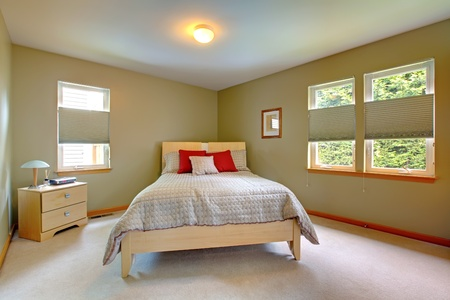 Large and bright room with bed for guests with many windows.