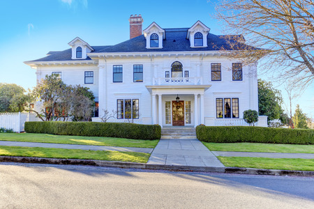 Photo for Luxury american house with column porch and curb appeal - Royalty Free Image