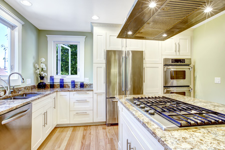 Foto de Modern and practical kitchen room design. White cabinet with granite tops and steel appliances, kitchen island with built-in stove and steel hood - Imagen libre de derechos