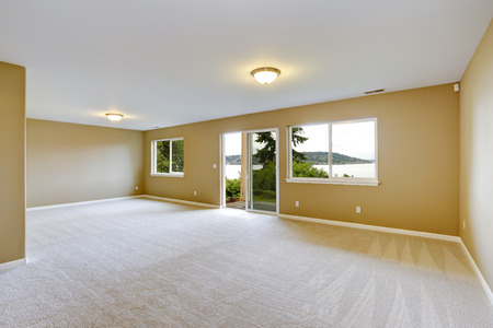 Photo pour Empty house interior. Spacious family room with clean carpet floor and exit to walkout patio - image libre de droit