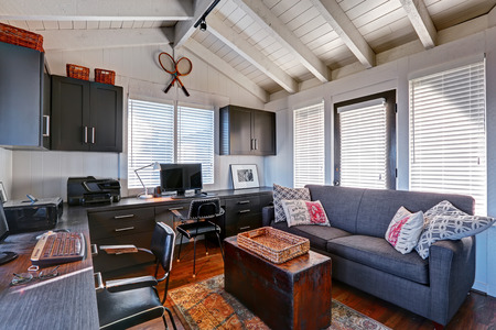 Photo for Bright beautiful home office interior design with classic American style. - Royalty Free Image