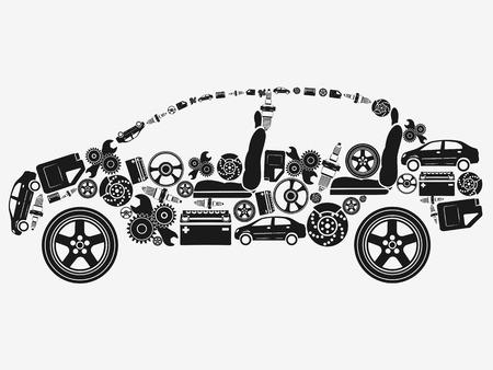 Illustration pour Collection of icons arranged in the shape of the car. The concept of automotive subjects. Vector illustration. - image libre de droit